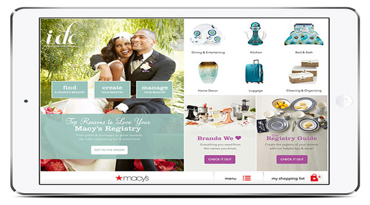Client: Macys - Registry Campaign: i do. image of iPad with happy couple and home goods to start a life together