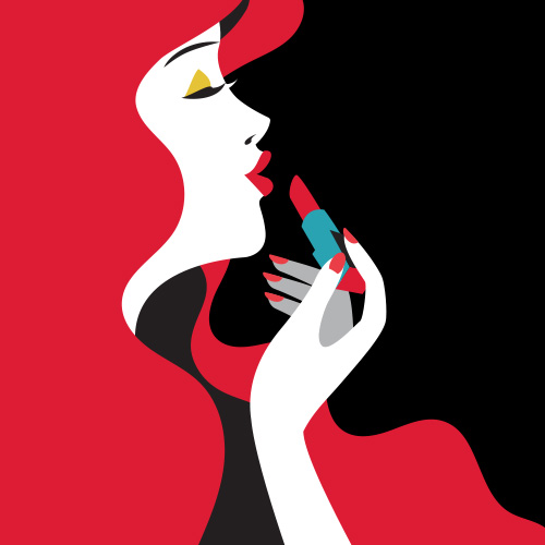 vector illustration of fashion woman with lipstick to her lips